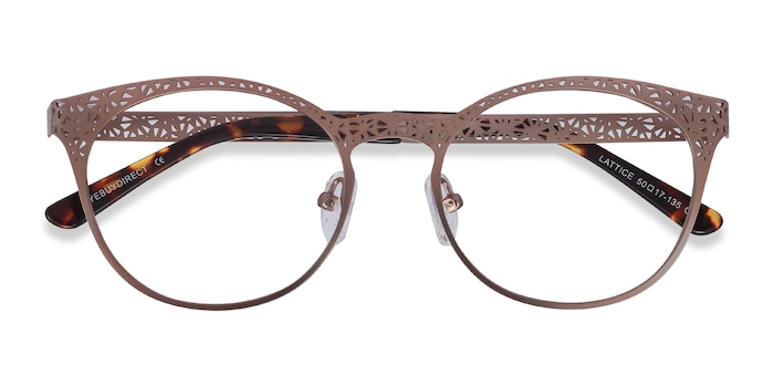 Rose Gold Lattice -  Vintage Metal Eyeglasses