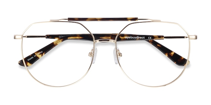Golden Tortoise Coxon -  Fashion Metal Eyeglasses