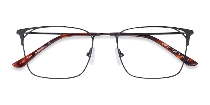 Black Emett -  Lightweight Metal Eyeglasses