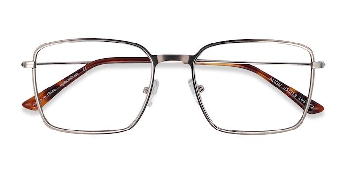 Gunmetal & Silver Align -  Lightweight Metal Eyeglasses