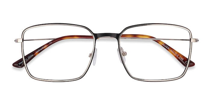 Black & Silver Align -  Lightweight Metal Eyeglasses