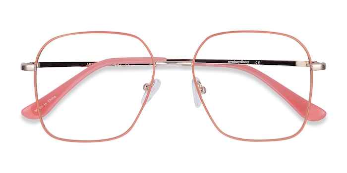 Coral & Gold Arty -  Fashion Metal Eyeglasses