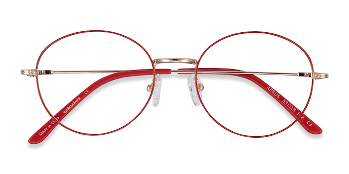 Red/Gold Arbus -  Lightweight Metal Eyeglasses