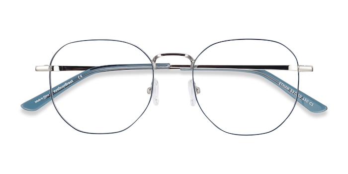 Navy & Silver Ethan -  Colorful Metal Eyeglasses