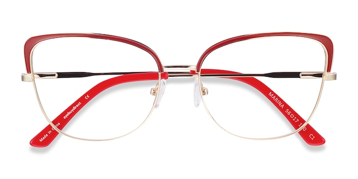 Red & Gold Marina -  Vintage Metal Eyeglasses