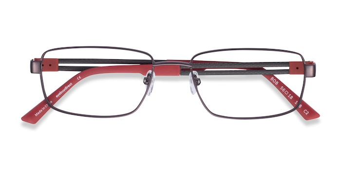 Gunmetal Red Bob -  Carbon Fiber Eyeglasses