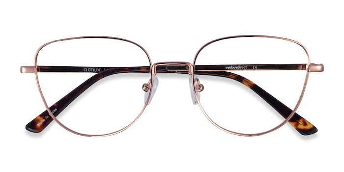 Shiny Rose Gold Clotilde -  Metal Eyeglasses