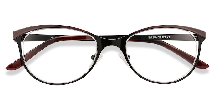 Black Red Deco -  Vintage Metal Eyeglasses