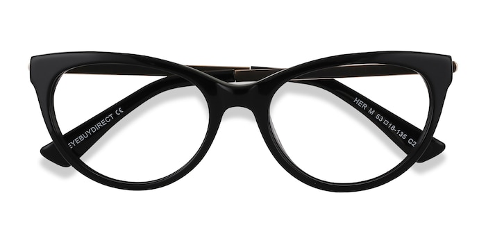 Black Her -  Vintage Metal Eyeglasses