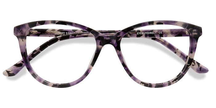 Purple Floral Lancet -  Acétate Lunettes de Vue