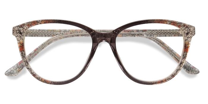 Clear Floral Lancet -  Acetate Eyeglasses