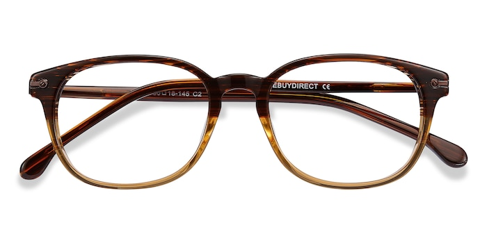 Brown Striped Nova -  Acetate Eyeglasses