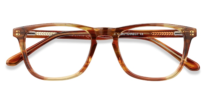 Brown Striped Prelude -  Acetate Eyeglasses