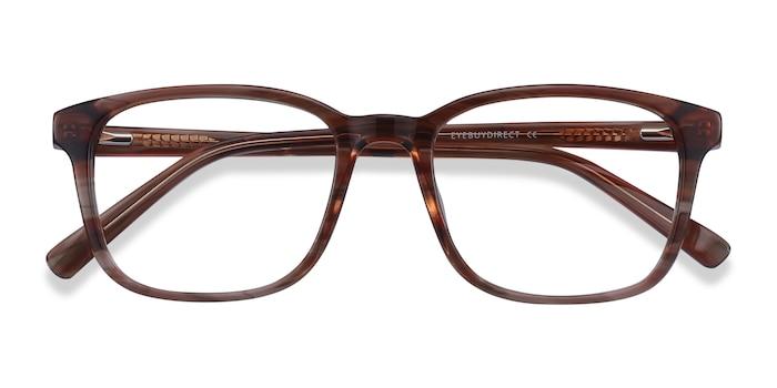 Brown Striped Longway -  Acétate Lunettes de Vue