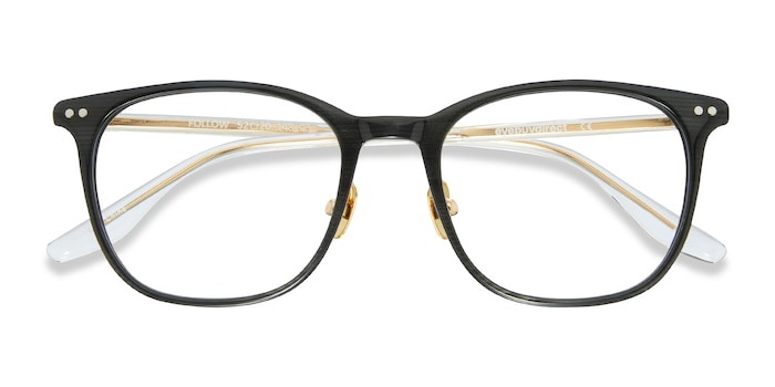 Gray Striped Follow -  Acetate Eyeglasses