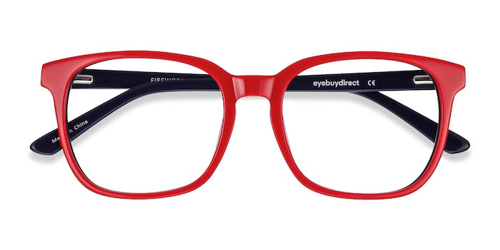 Red & Navy Firework -  Colorful Acetate Eyeglasses