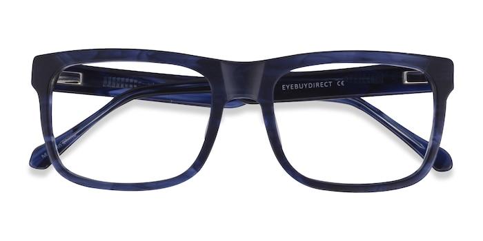 Matte Blue Striped Ylem -  Acetate Eyeglasses