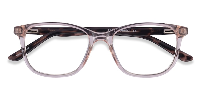 Clear Pink Floral Paint -  Plastic Eyeglasses