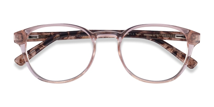 Clear Pink Floral Cool -  Plastic Eyeglasses