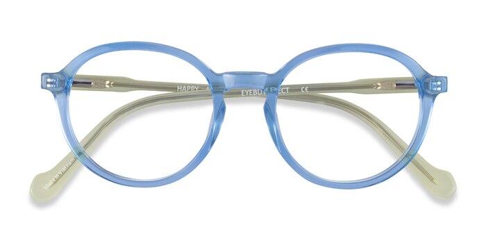 Clear Blue Green Happy -  Acetate Eyeglasses