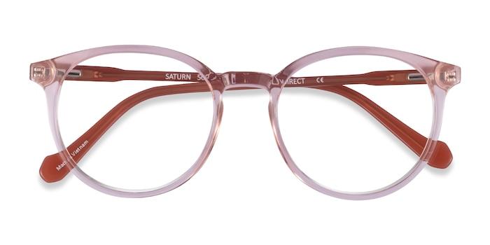 Clear Pink Terracotta Saturn -  Acetate Eyeglasses