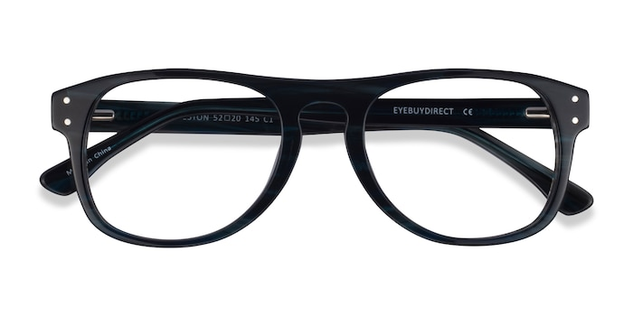 Dark Blue Striped Galveston -  Acetate Eyeglasses