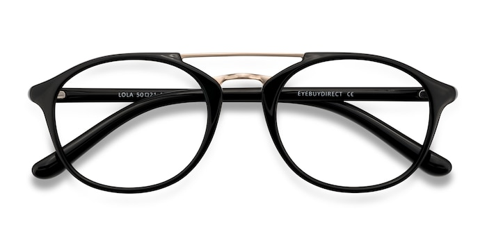 Black Lola -  Vintage Metal Eyeglasses