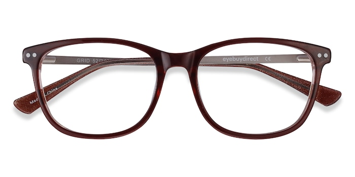 Brown Grid -  Metal Eyeglasses