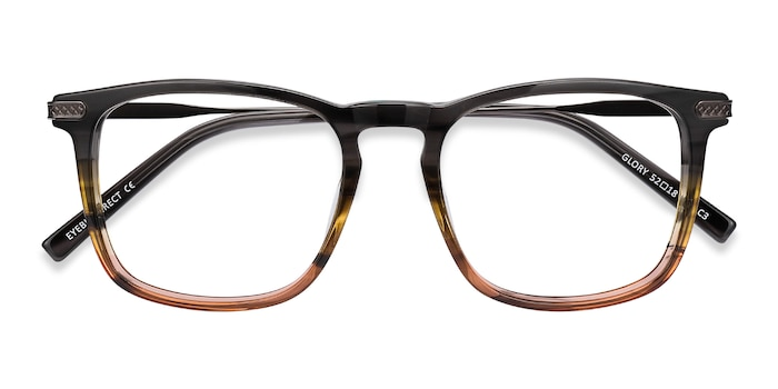 Gray Striped Glory -  Metal Eyeglasses
