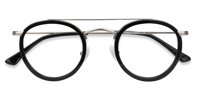 Black Silver Architect -  Vintage Acetate Eyeglasses
