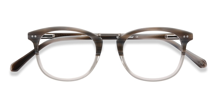 Gray Striped Era -  Vintage Acetate Eyeglasses