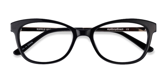 Black Ripple -  Vintage Acetate, Metal Eyeglasses