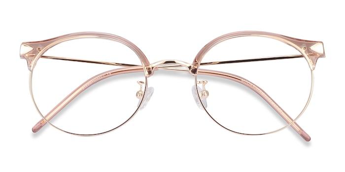 Clear Pink Moon River -  Lightweight Plastic, Metal Eyeglasses