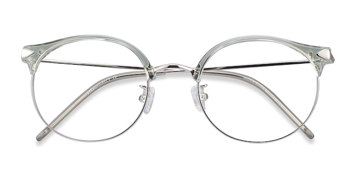 Clear Green Moon River -  Colorful Metal Eyeglasses