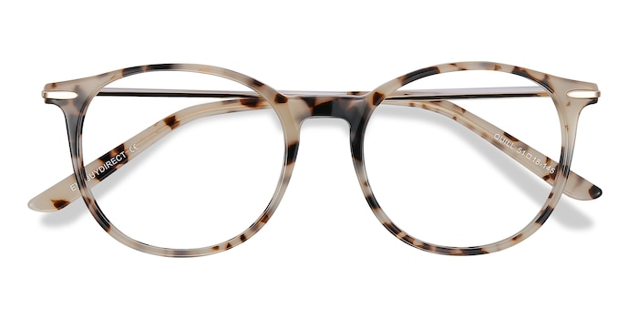 Ivory Tortoise Quill -  Lightweight Acetate, Metal Eyeglasses