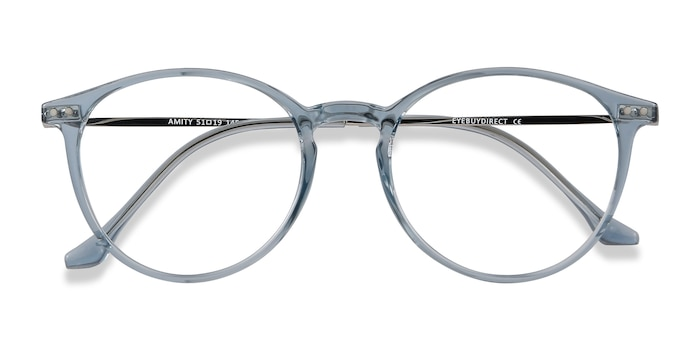 Blue Amity -  Lightweight Plastic, Metal Eyeglasses