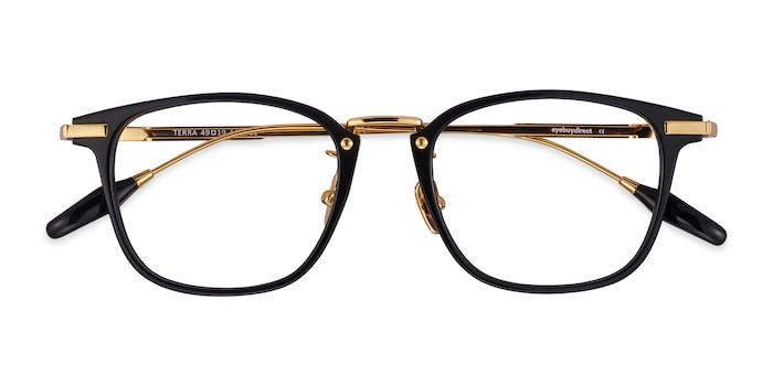 Black Terra -  Fashion Acetate, Metal Eyeglasses