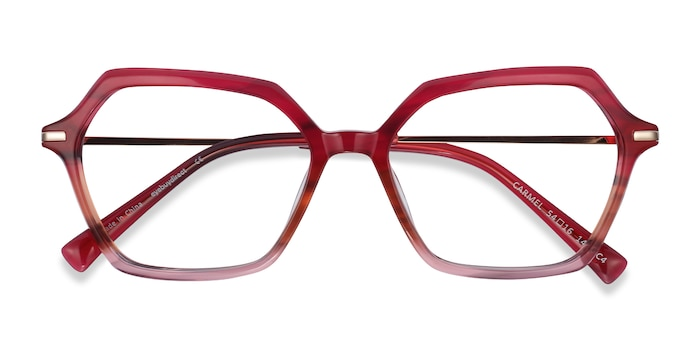Raspberry Striped Carmel -  Lightweight Acetate, Metal Eyeglasses