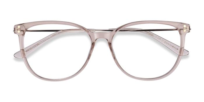 Clear Brown Nebulous -  Lightweight Acetate, Metal Eyeglasses