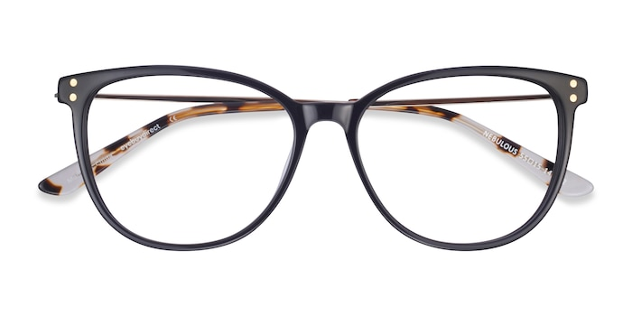 Black Nebulous -  Lightweight Acetate, Metal Eyeglasses