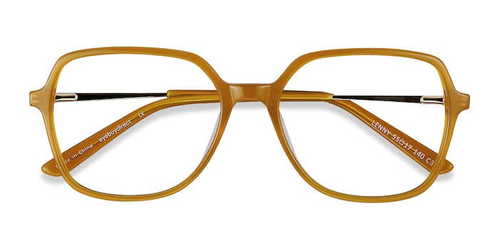 Mellow Yellow Lenny -  Vintage Acetate, Metal Eyeglasses