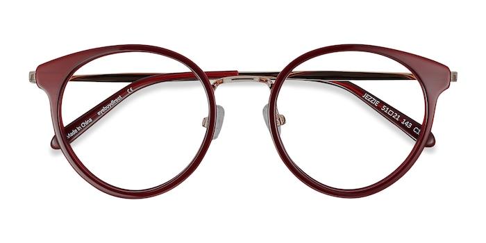 Burgundy & Gold Jezzie -  Fashion Acetate, Metal Eyeglasses