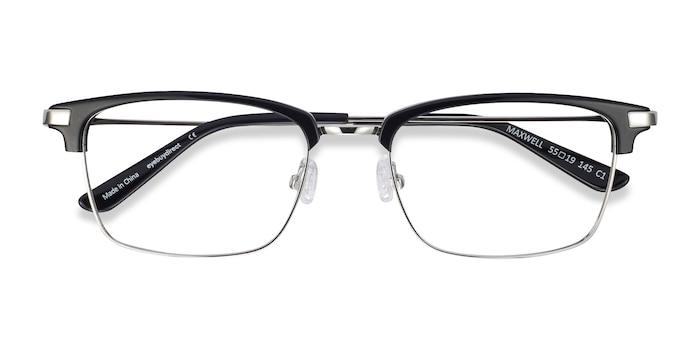 Black Maxwell -  Vintage Acetate, Metal Eyeglasses