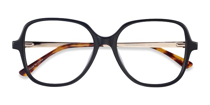 Black Corey -  Vintage Acetate, Metal Eyeglasses