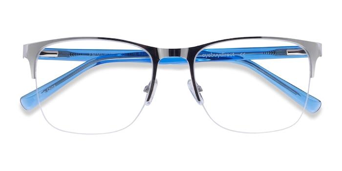 Silver & Clear Blue Emmerson -  Acetate, Metal Eyeglasses