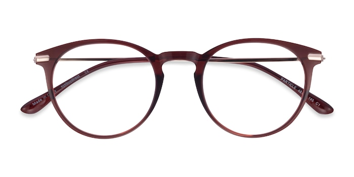 Clear Red & Rose Gold Particle -  Colorful Plastic, Metal Eyeglasses