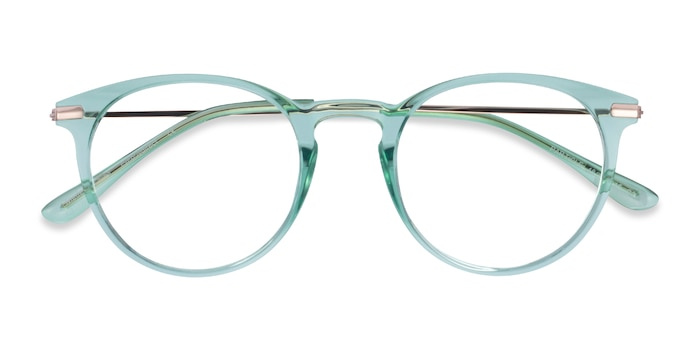 Clear Green & Rose Gold Particle -  Colorful Plastic, Metal Eyeglasses