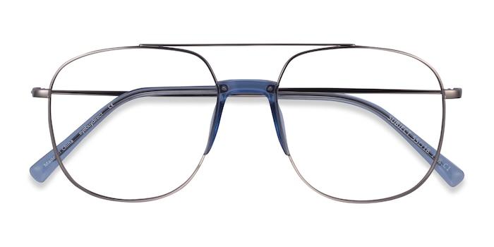 Silver & Clear Blue Subject -  Acetate, Metal Eyeglasses