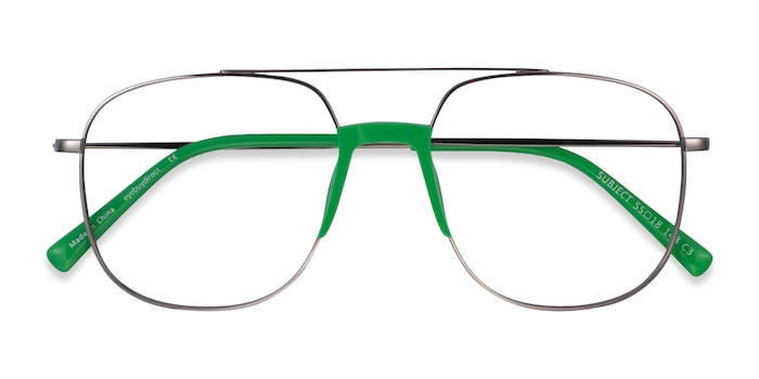 Gunmetal & Green Subject -  Acetate, Metal Lunette de Vue