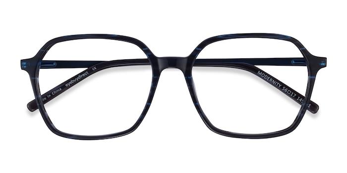 Striped Blue Modernity -  Acetate Eyeglasses